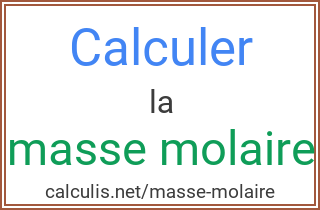 calcul masse moalaire
